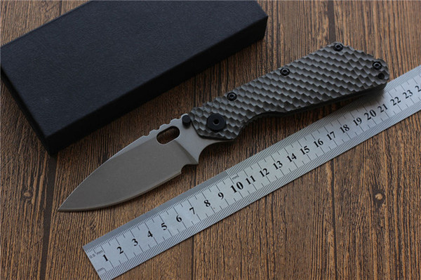 SMF Folding Knife D2 blade Carbon fiber Titanium handle Copper washer Camping knife outdoor hunting utility Knives EDC Tools top