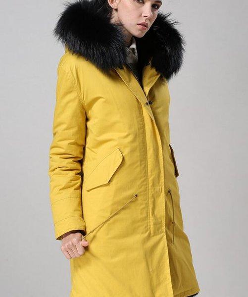 Raccoon fur trim Meifeng brand women winter snow coats black rabbit fur lined yellow canvas long parka with ykk zipper