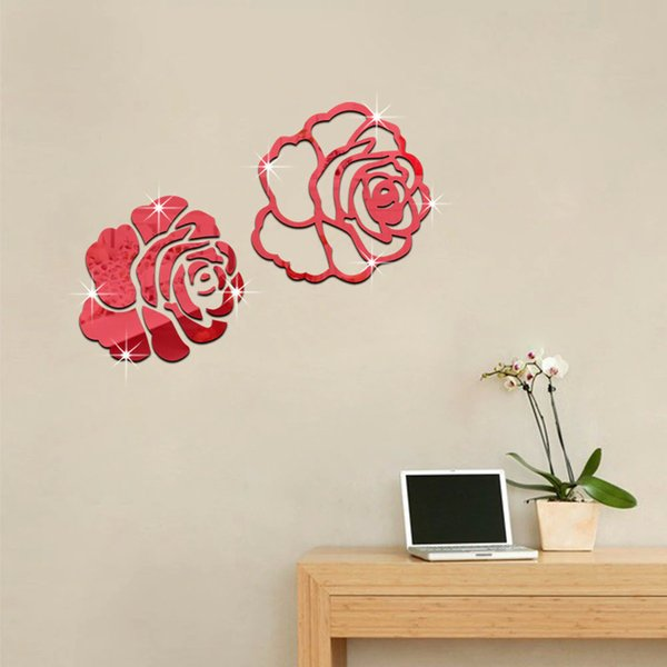 Rose 3D Mirror Wall Stickers For Wall Decoration DIY Home Decor Living Room Wall Decal