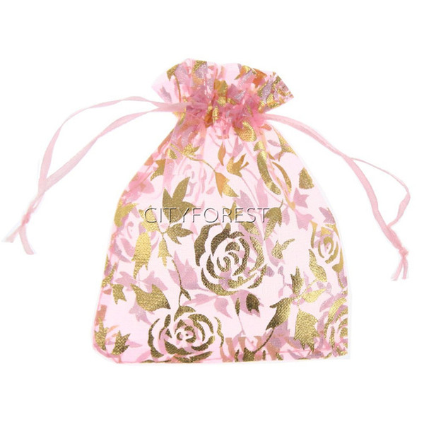 100 Pcs Pink Rose Flower Pattern Drawstrings Organza Gift Candy Bags Wedding Party Favors Jewelry Decorative Pouches 7cm x 9cm