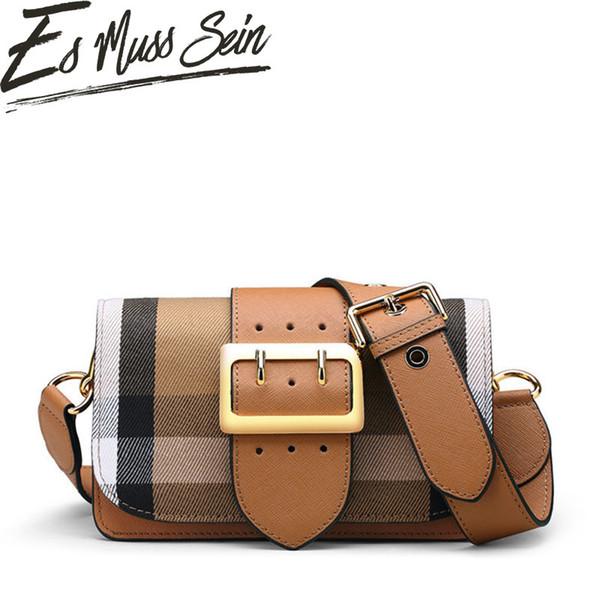 EsMussSei Famous Band Women Bag Plaid Pattern Color Block Bag Golden Buckle Small Wide Shoulder Handbag Messenger Lady