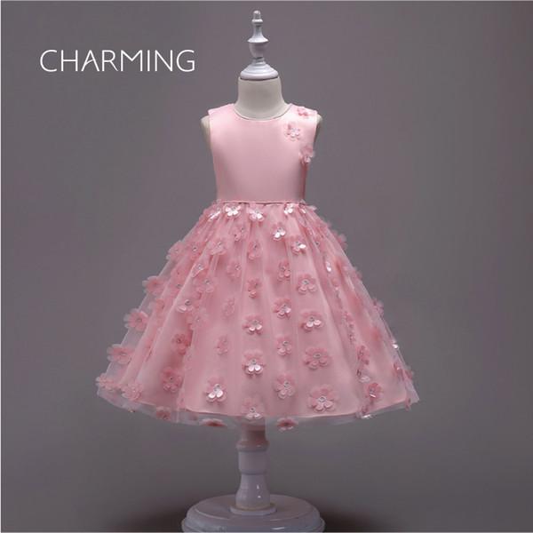 Flower girl dress Laser 3d petal floral wedding dress Bow Design Dress Princess wedding dresses Elegant wedding dresses