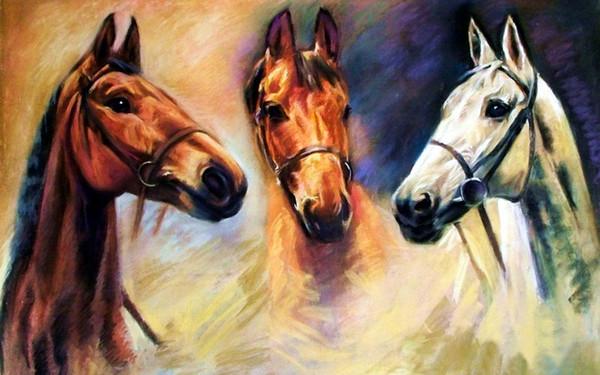 Animal Art Three Horses,Oil Painting Reproduction High Quality Giclee Print on Canvas Modern Home Art Decor E268
