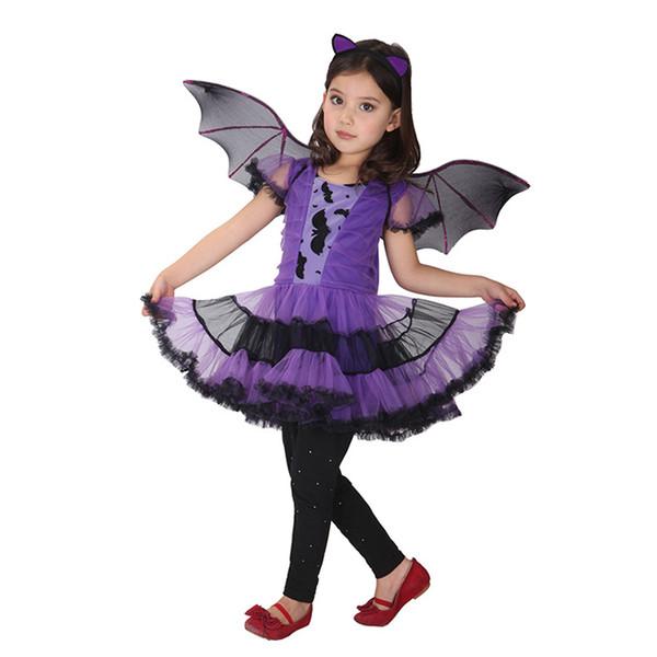 90-160 cm Niñas de Halloween Palo Vampiro Púrpura Vampire Wing Headband Cosplay Costume Niños Conjuntos Scary Payaso bruja ropa