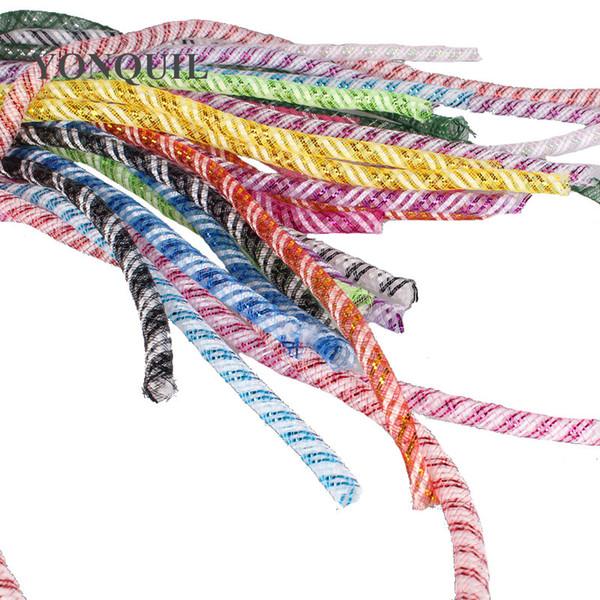 Metallic 4mm Tubular Horsehair Crinoline Tube Crin net nylon Trimming for fascinator DIY hair accessories 100yds/lot 24 colors Free Shipping