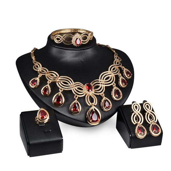 Red Gemstone Necklace Earrings Rings Jewelry Sets Gold Chain Pendants Crystal Statement Jewelry Wedding Jewelry for Bride