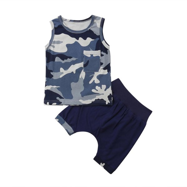 1-6y kid baby boys summer clothing set casual camo print vest +pants outfits children costumes thumbnail