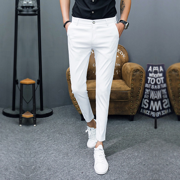 2018 New Pantalon Homme Korean Fashion Solid Pants Men Slim Fit Casual Ankle Length Streetwear Suit Pant Trousers Men Clothing