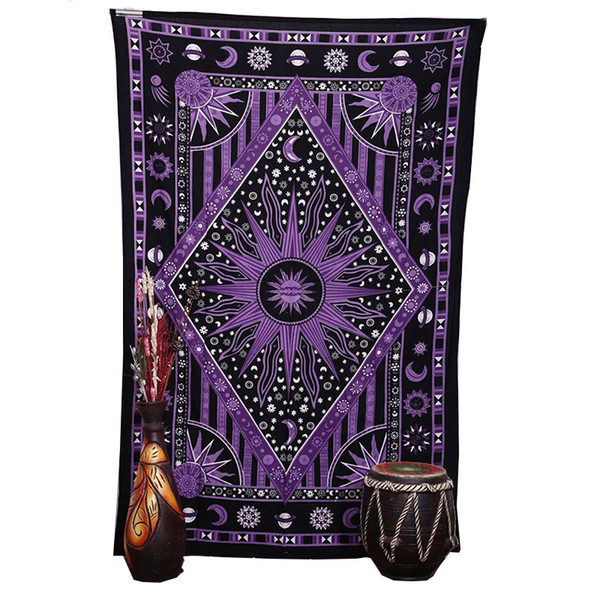 2018 Purple Burning Sun Wall Tapestry Celestial Sun Moon Planet Printed Mandala Tapestries Hippie Bohemian Beach Towel Wall Art Blanket