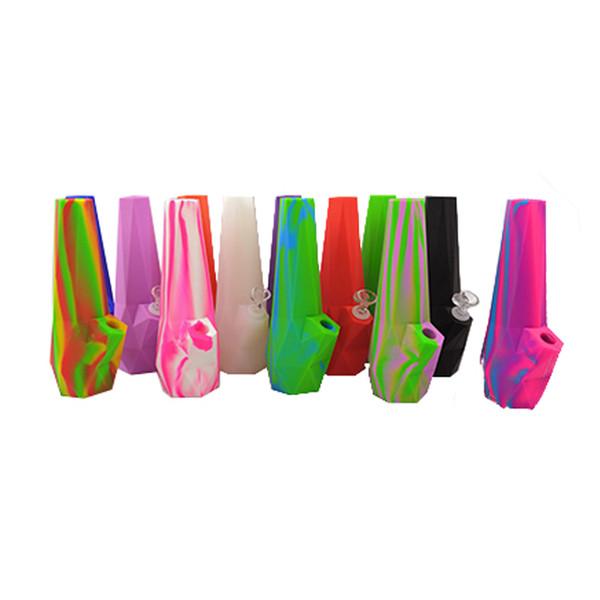 Un solo color Multi colores Diamond bong Plegable Silicona Tabaco Fumar Bongs irrompible Percolador Bong OEM log