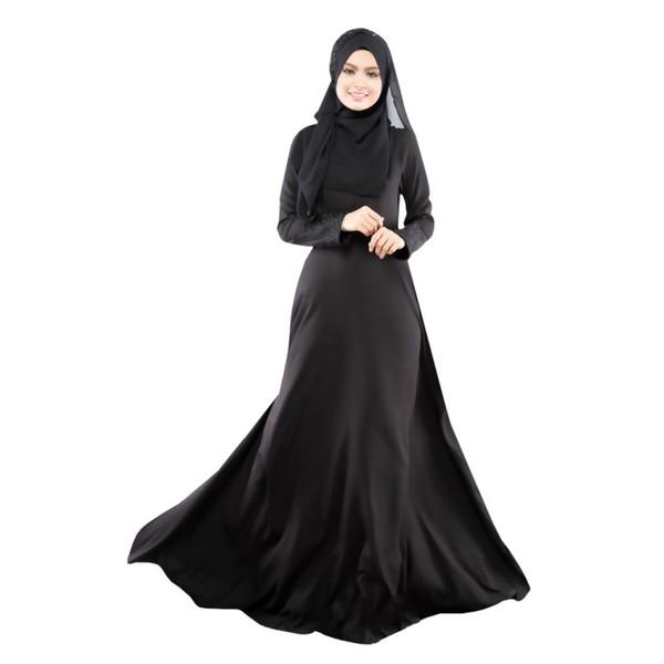 New Kaftan Abaya Dress Muslim Islam Women Jilbab Long Sleeve Maxi Dress Solid Color PY3 L4 B3