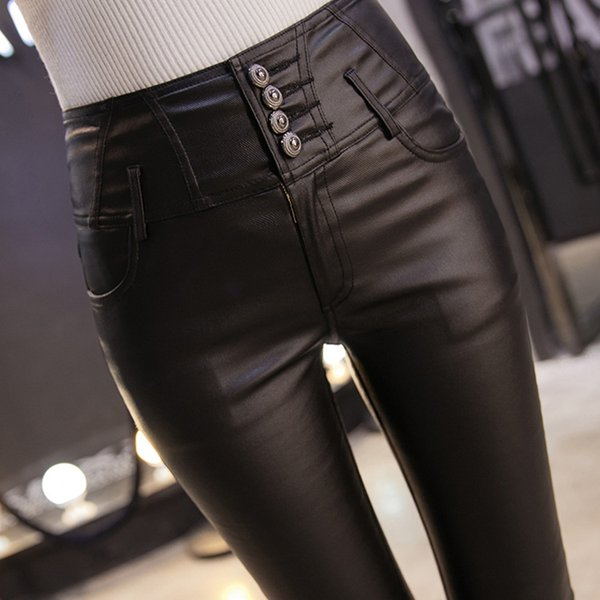 2017 Autumn Winter Women's Wear High Waist Pants High Elasticity And Show Thin Leather Pants Leggings Lady Buttons And Feet