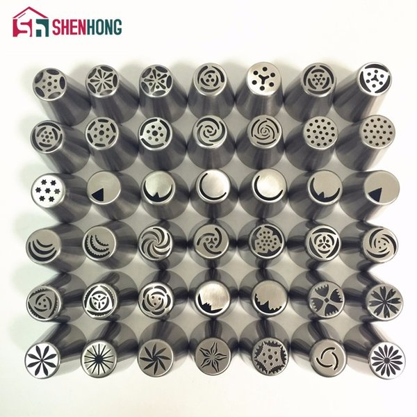 Dropshipping 42 Model Russian Stainless Steel Icing Piping Nozzles Tips Pastry Cake Decorating Decoration Tools for the Kitchen