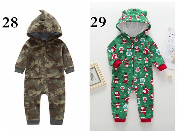 Retail Christmas Winter Newborn Baby Hoodies Rompers Dinosaur Plaid Camouflage Dots Striped Santa Claus Elk Boy Girl Designer Jumpsuits