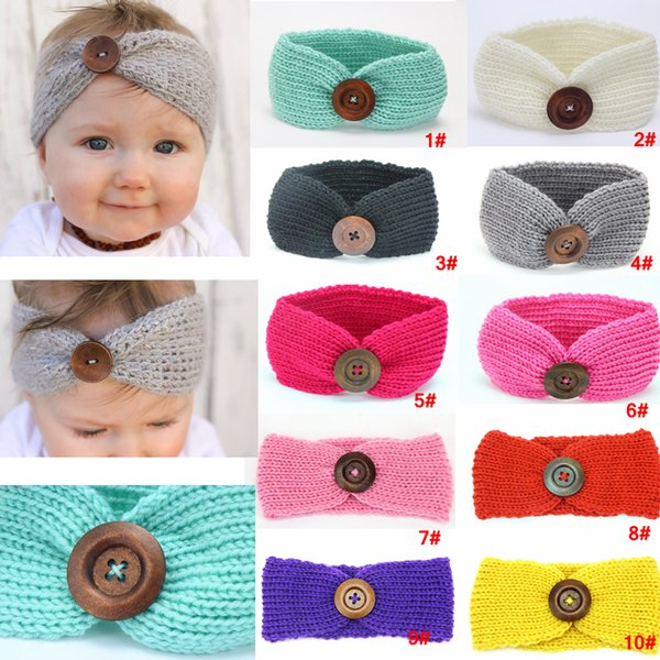 Kids Buckle Knitted Headband Baby Winter Crochet Sports Button Headwrap Hairband Turban Head Band Ear Warmer Beanie Hat AAA961