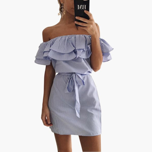 Women Off Shoulder Dress Striped Ruffles Sashes Kwaii Tunic Dresses Ladies Elegant Butterfly Sleeve Sexy Vestidos S-3XL