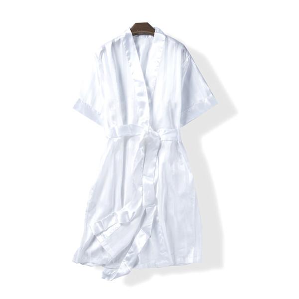 24ec1c6d30 Summer women fashion loose short sleeve faux silk fabric belted bathrobe  female trendy stripe style thin lounge robe sleepwear