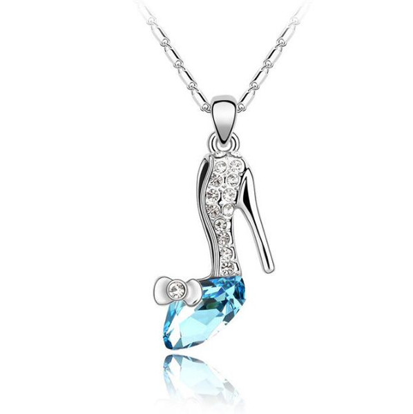 hot sale Woman fashion jewelry made in china Use swarovski elements Crystal Necklace Originality Ornaments Dream crystal shoes Pendant