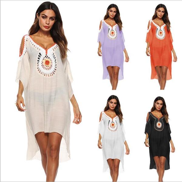 Bikini Cover-Ups Women Sexy Beach Dress Summer Crochet Blouses Sunblock Loose Swimwear Casual Vacation Seaside Beachwear Bathing Suits B4143
