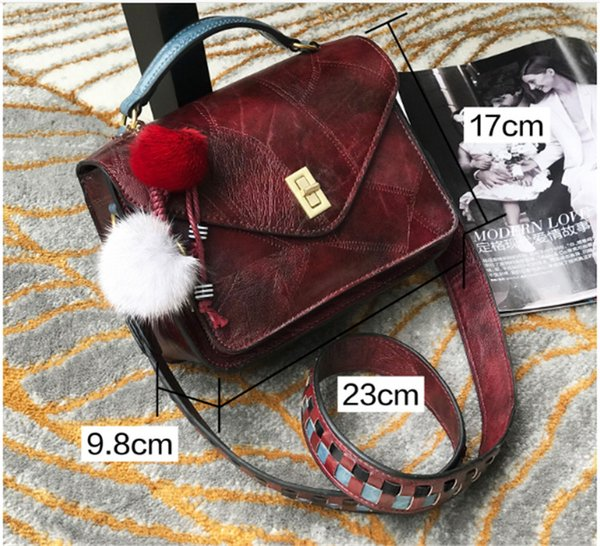 2018 NEW Fashion Women Shoulder Bags Retro Style Weave Shoulder Harness Crossbody handBags for Girl Hair Ball Decoration Messenger Totes Bag