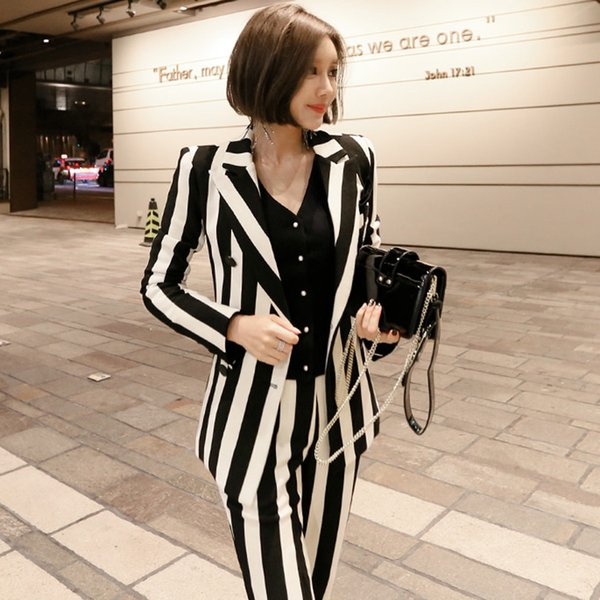New 2018 Autumn OL Style Fashion Pants Suits Women Double Breasted Blazer 2 Piece Set Striped Jackets & Pants Blazers jn127