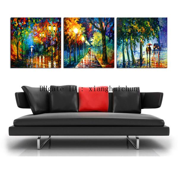 leonid afremov: Rainy Night Walking, 3 piezas de decoración para el hogar HD, pintura de arte moderno impresa en lienzo (sin marco / enmarcada)