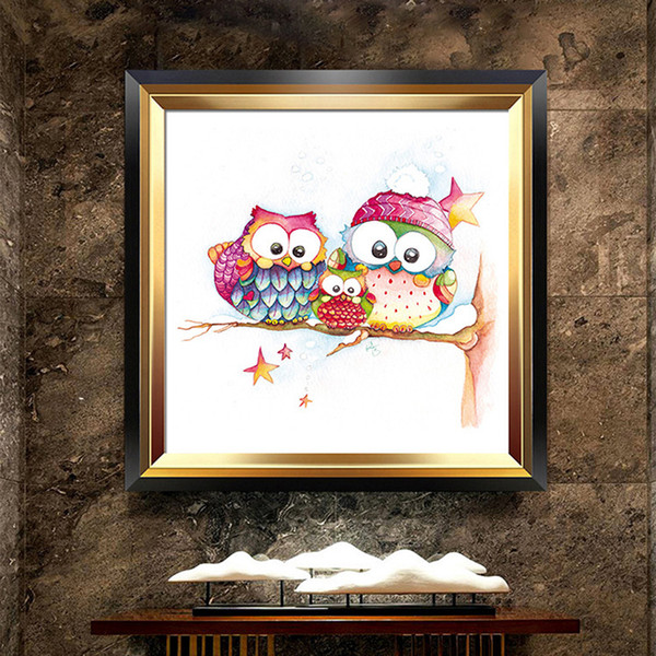 Lan Diamonds Full Bore New Pattern A Living Room Bedroom Slightly Cartoon Comic Lovely Owl Stick Drill Cross Embroidery