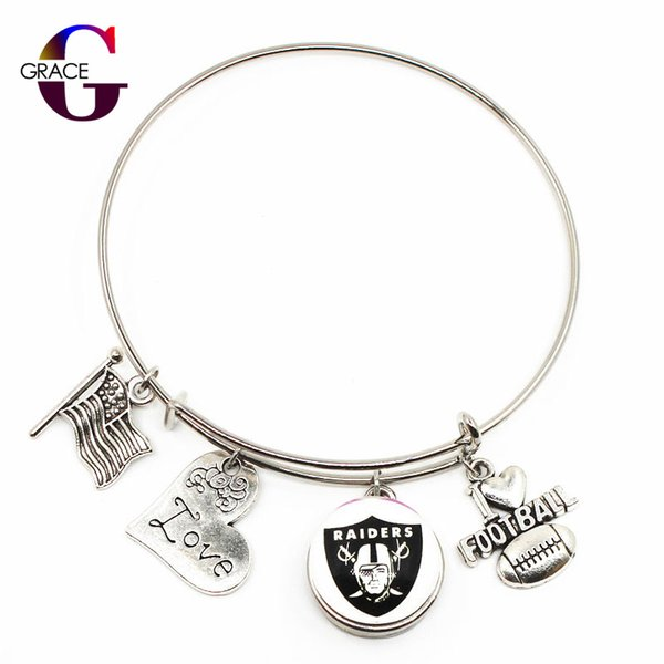 10pcs Football Sports Charms Adjustable I Love Football Expandable Men Bangle Bracelets With Glass Snaps Buttons Jewelry