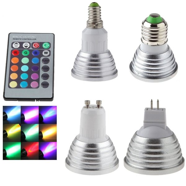 GU10 Lámpara LED E27 220V RGB Proyector Lampada 110V MR16 Luz LED 85-265V Christmas Lanterna Bombillas E14 Bombilla con control remoto