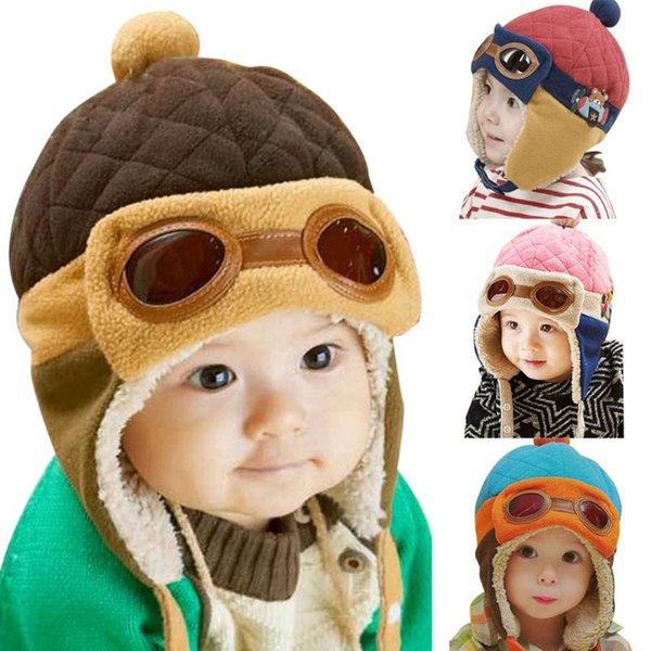 Winter warme Baby Hüte Kleinkinder Jungen Mädchen BeaniesBeanies Pilot Caps Eargflap Hut Baby Pilot Winter warme Mütze
