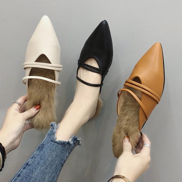 Chinelos acolchoados de peles artificiais mulheres fechadas dedo apontado chinelos banda estreita decoração fur slides fêmea cut out pantuflas y823