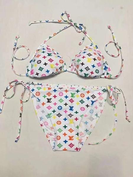 Markalı Mayo Renkli Kadınlar Iki Parçalı Bikini Set Bandaj Mayo Tasarımcısı Lady Baskı Seksi Mayo Sekiz Renk