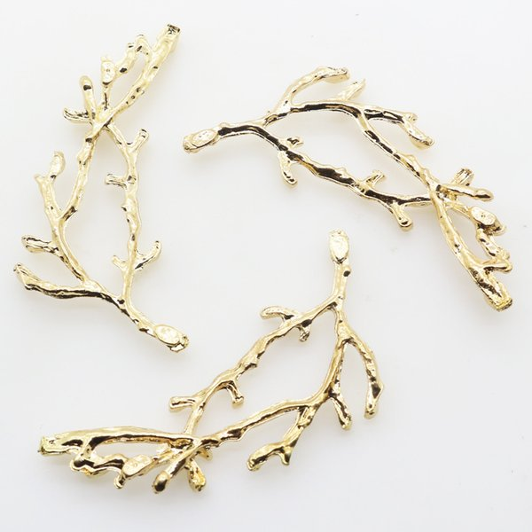 2017 New 10Pc 58 23mm Gold Metal Branches Diy jewelry Accessories  Rhinestones Pedestal Embellishments Caps Decoration Gold Color ad3d3387766d
