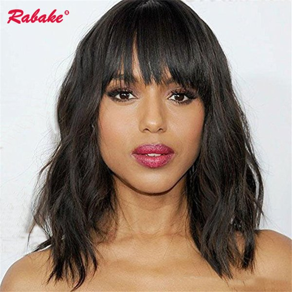 Brazilian Virgin Remy Wavy Lace Front Wigs Rabake Cuticle Aligned Silk Top Short Bob Lace Front Human Hair Wigs for Black Women