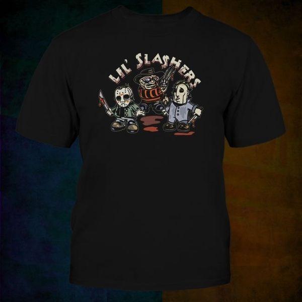 Fashion Men T Shirt Free Shipping Wholesale Discount Retro Lil Slashers Horror Icon Parody Tee , Noes Freddy Jason Halloween Tee Shirt