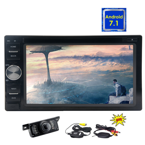 Wireless Rearview Camera+Android 7.1 5-Point Touch Screen Double 2 din Stereo Auto Radio Octa Core Car dvd Head Unit Navigation HeadUnit GPS