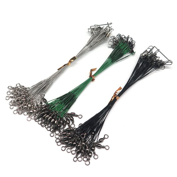 100pcs/lot Fishing Lure Trace Wire Leader Line Fishing Tools Swivel Tackle Spinner Shark Spinning with 10cm 15CM, 23CM, 30CM