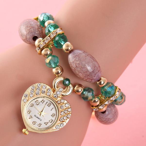 High Grade Ladies Bracelet Watch Rhinestone Heart-shaped Pendant Quartz Wristwatches Women Gem Beads Strap Relogios