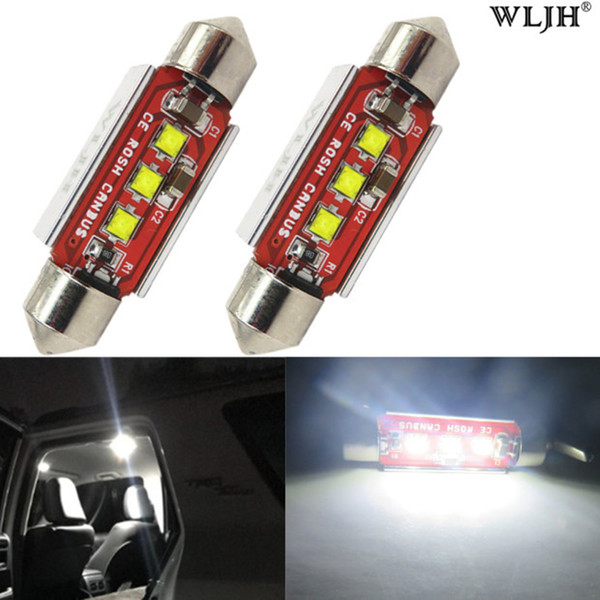 WLJH Canbus C10W 39mm Leds Lamp Chip 3535 LED 239 272 SV8.5 Interior Lights 12V Led Car Light Source No Polarity