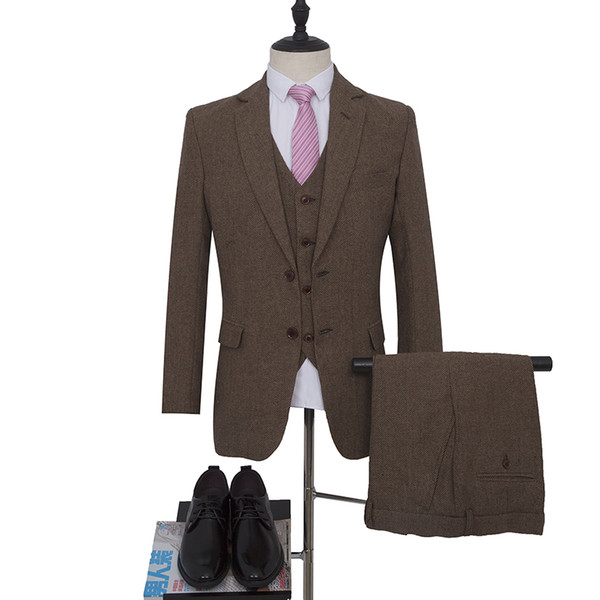 Коричневый Смокинг Жених Смокинга Блейзер для Свадебного Костюма Однобортный Костюмер Дружка Костюм на заказ (Куртка + брюки + жилет)