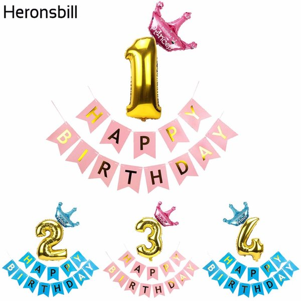 Acheter Heronsbill 1 2 3 4 5 6 7 8 9 Ans Joyeux Anniversaire Ballons Nombre Air Foil Bébé Garçon Fille Décorations De Fête Fournitures Pour Enfants
