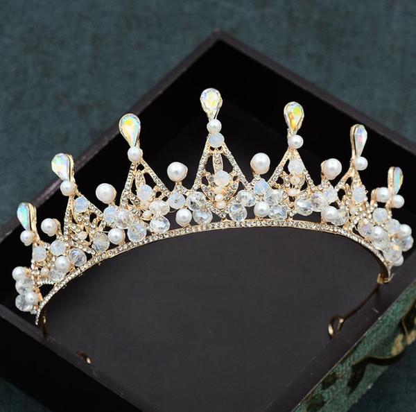 Bridal jewelry, handmade crystal crown, new wedding dress, wedding headwear, hair ornament.