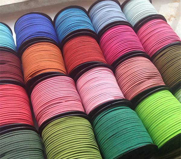 15 colores 95M 3 mm x 1.5 mm Multicolor plano Faux Suede collar de cuero de terciopelo coreano Cordón cadena de bricolaje Cuerda hilo de encaje joyería que hace hallazgos