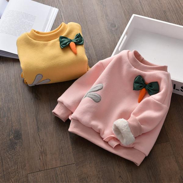 BibiCola autumn winter girls sweater 2018 fashion cartoon sweater for girls cotton velvet warm outerwear kids thicken