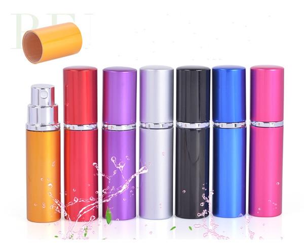 7 Colors 5CC smooth Aluminium perfume bottle 5ml Refillable Perfume Atomizer Travel bottles fragrance glass Spray bottles