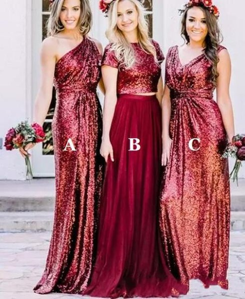 094c413d2460 2018 Burgundy Sequin a line Bridesmaid Dresses Mismatched Long Sparkly  Country Style Bridesmaid Dress Wedding Party