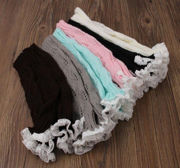 8 Colors Girls Lace Crochet Boot Cuffs Christmas Leg Warmers Knit Covers Ballet Xmas Knee High Socks 100pairs