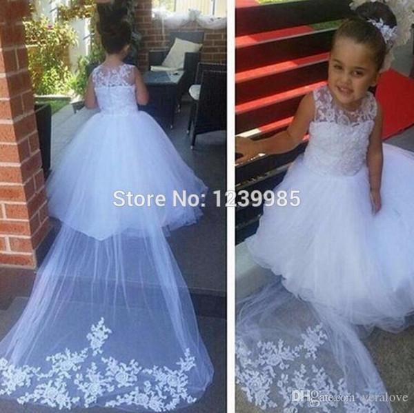 Uzun Kız Pageant elbise Çocuklar İçin Balo Çiçek Kız Elbise 2019 Düğün Communion Elbise Mahkemesi Tren Saf Beyaz