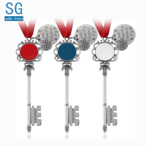 SG 3 Colors Christmas Magic Santa Key Snowflake Pendants Necklaces Keyring Choker Wish Tree Men Lady Xmas Jewelry Gift