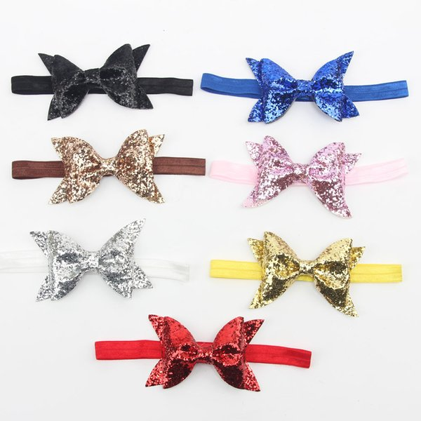 Hot selling shining Sequin Glitter Hair Bow For Baby Girls Kids Elastic Hairband Hair accessory Hair Clips Grips